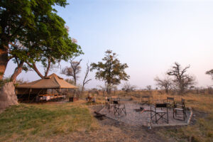 Mboma Island Camp dining area and fire place